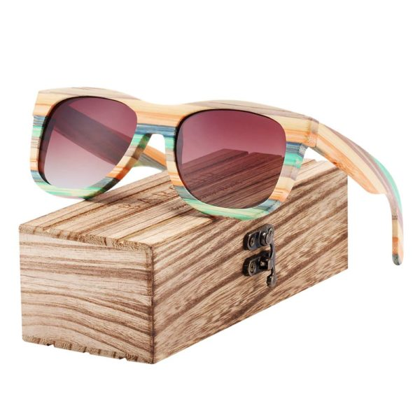 BARCUR Gradient Women Men Bamboo Polarized Sunglasses Mirror Square Eyewear UV400 BC8217 Sunglasses for Men Sunglasses for Women Wooden Sunglasses