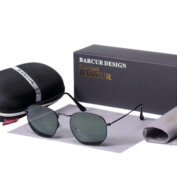 BARCUR UV400 Sunglasses Retro Metal Hexagonal Round Vintage BC3549 Sunglasses for Men Round Series Sunglasses Sunglasses for Women