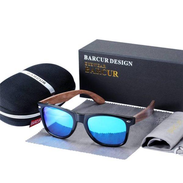 BARCUR High Quality Black Walnut Sunglasses Anti-Reflecti Men Women BC8700 Sunglasses for Men Round Series Sunglasses Sunglasses for Women