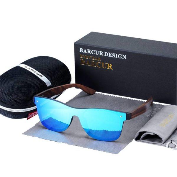 BARCUR Sunglasses Luxury Vintage Wooden UV400 Protection Fashion Square BC4126 Sunglasses for Men Sunglasses for Women Wooden Sunglasses