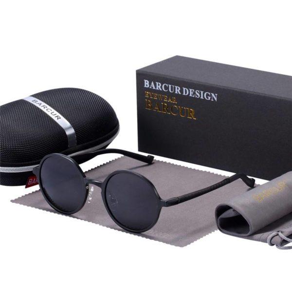 BARCUR Hot Black Goggle Male Round Sunglasses Luxury Brand BC8565 Sunglasses for Men Aluminium Sunglasses Round Series Sunglasses Sunglasses for Women