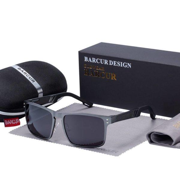 BARCUR New Design Male Driving Eyewear with case set BC8580 Sunglasses for Men Aluminium Sunglasses Sunglasses for Women