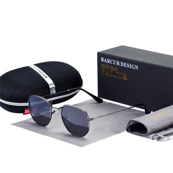 BARCUR Classic Retro Reflective Sunglasses Man Hexagon Metal Frame BC8548 Sunglasses for Men Sunglasses for Women