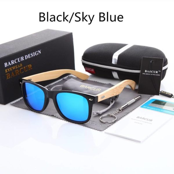 BARCUR Polarized Bamboo Sunglasses Men Women BC4175 Sunglasses for Men Sunglasses for Women Wooden Sunglasses