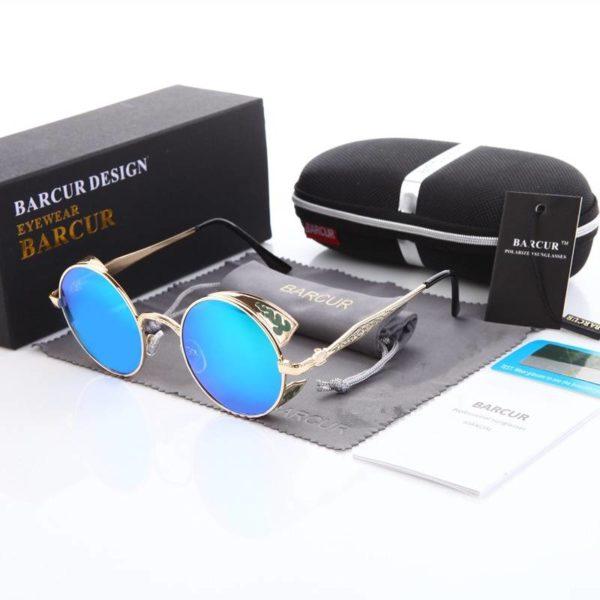 BARCUR Steampunk Sunglasses Round Sun glasses Men Brand Designer Women Gothic Glasses Polarized BC0900 Sunglasses for Men Sunglasses for Women