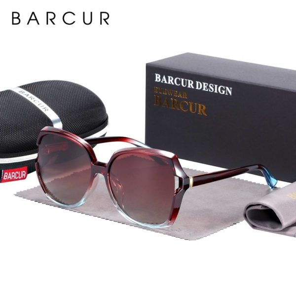 BARCUR Oversize +TR90 Material Sunglasses Women Polarized UV400 with Gradient Lens BC2117 Sunglasses for Women TR90 Material Sunglasses
