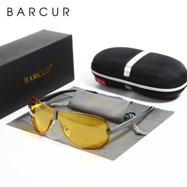 BARCUR Mens Night Driving Sunglasses Yellow Lens Night Vision Reduce Glare Brand Designer BC8505 Sunglasses for Men Night Vision Sunglasses