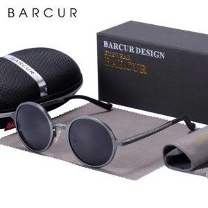 BARCUR Polarized Round Sunglasses Luxury Brand Unisex Glasses Retro Vintage UV400 Retro Style BC8552 Sunglasses for Men Aluminium Sunglasses Round Series Sunglasses Sunglasses for Women