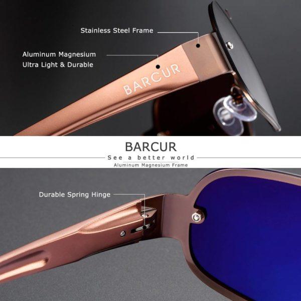 BARCUR Aluminum Magnesium Men Women Sunglasses Pilot Driving UV400 Protection BC8225 Sunglasses for Men Sunglasses for Women