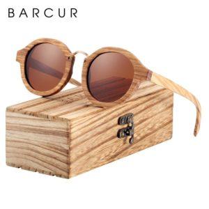 BARCUR Polarized Sunglasses Wood Round Men Women BC7104 Sunglasses for Men Sunglasses for Women Wooden Sunglasses
