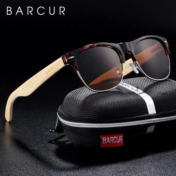BARCUR Brand Bamboo Polarized Sunglasses Wood Men Women UV400 Protection BC4000 Sunglasses for Men Sunglasses for Women Wooden Sunglasses