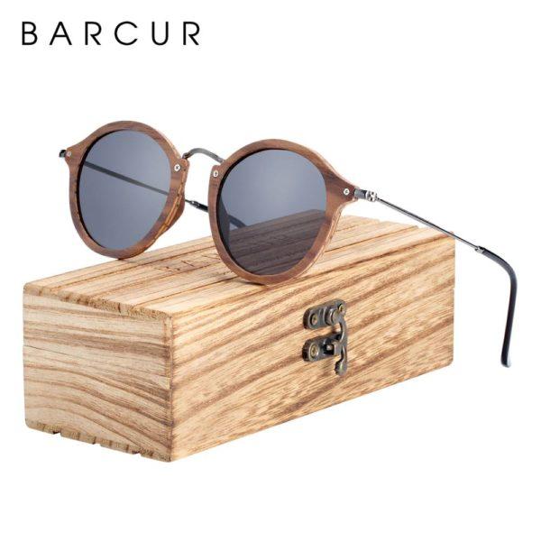 BARCUR Vintage Natural Black Walnut Sunglasses Round Polarized Wooden Men Women BC7106 Sunglasses for Men Sunglasses for Women Wooden Sunglasses