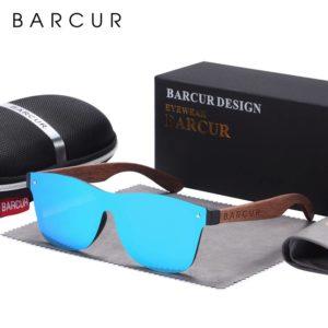 BARCUR Natural Black Walnut Men Women Polarized Sunglasses Wood UV400 BC4126 Sunglasses for Men Sunglasses for Women Wooden Sunglasses