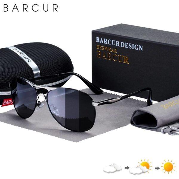 BARCUR Photochromic Sunglasses High Quality Men Polarized Sun Glasses UV400 Sunglasses for Men