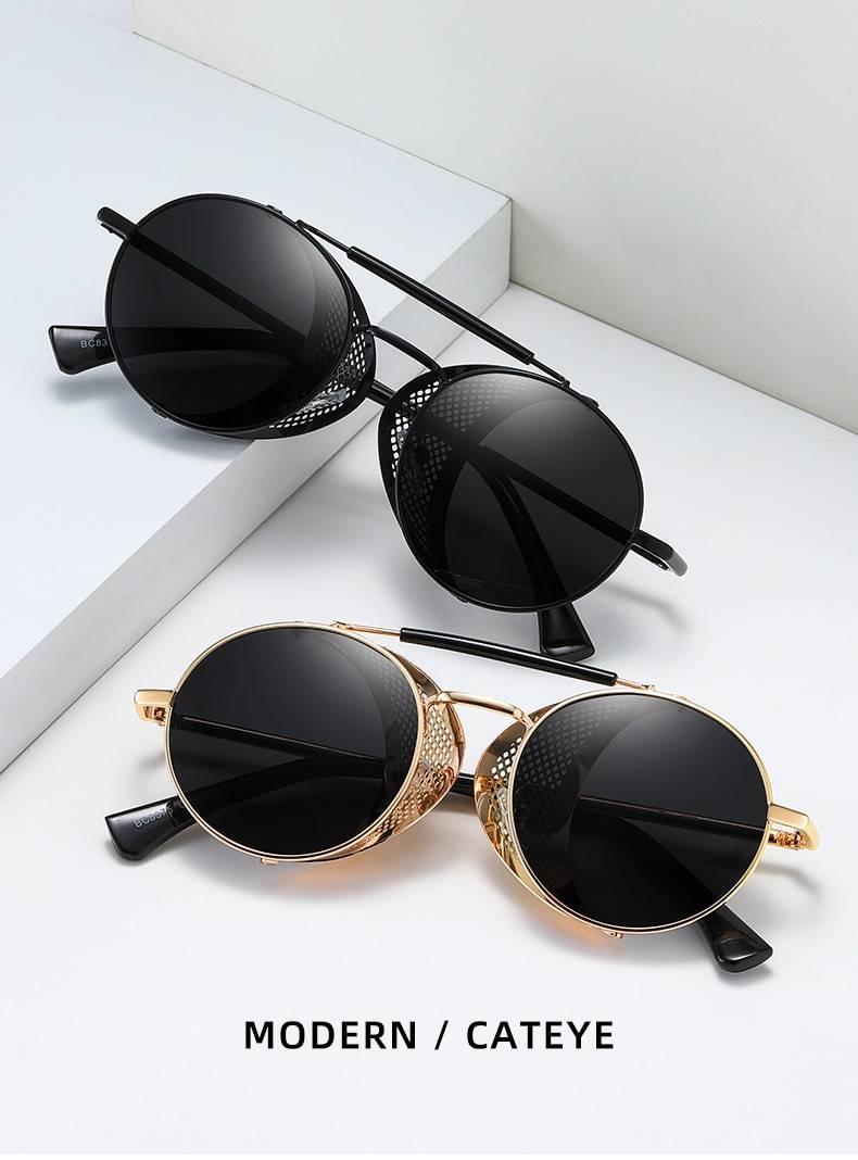 BARCUR BC8375 Round Steampunk Sunglasses  Retro Polarized SunGlasses  Vintage Eyewear