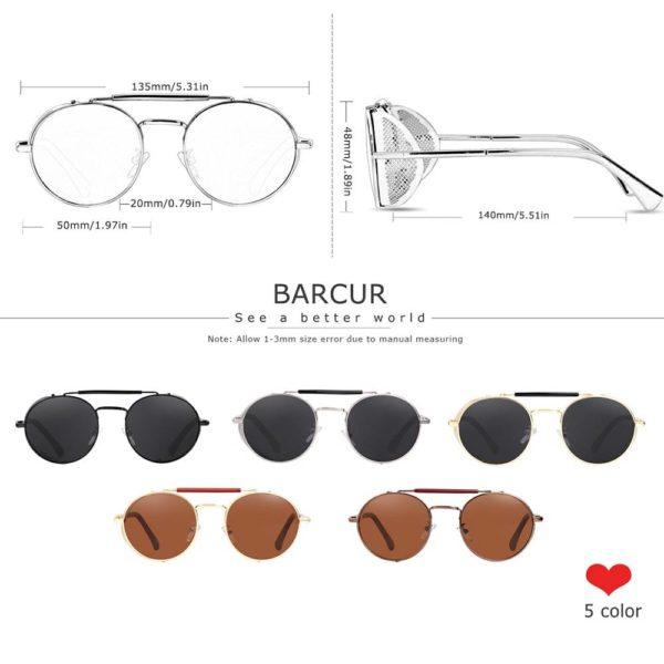 BARCUR BC8375 Round Steampunk Sunglasses Retro Polarized SunGlasses Vintage Eyewear Round Series Sunglasses